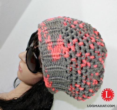 Gorro con Punto Mock Crochet en Telar Redondo - Como Telar